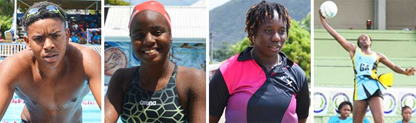 Image: (L-R) Jayhan Odlum - Smith (Swimming), Mikaili Charlemagne (Swimming), Qiana Joseph (Cricket), Shem Maxwell (Netball). (PHOTO: Anthony De Beauville/ SM)