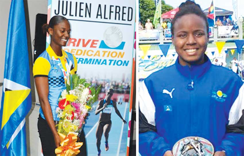 Image: (L-R) Two of Saint Lucia finest female athletes, Julien Alfred and Mikaili Charlemangne. (PHOTO: Anthony De Beauville/SLAF)