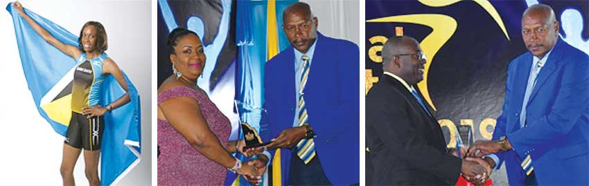 Image: (L-R) - (Leven Spencer; DPS Ministry for Youth Development and Sports Liota Charlemagne presenting Gregory Dickson with Levern Spencer's Senior Athlete for the Year award; Sports Minister – Edmund Estaphane presenting Gregory Dickson with the Senior Sportswoman for the Year award. (PHOTO: Anthony De Beauville/Getty Images)