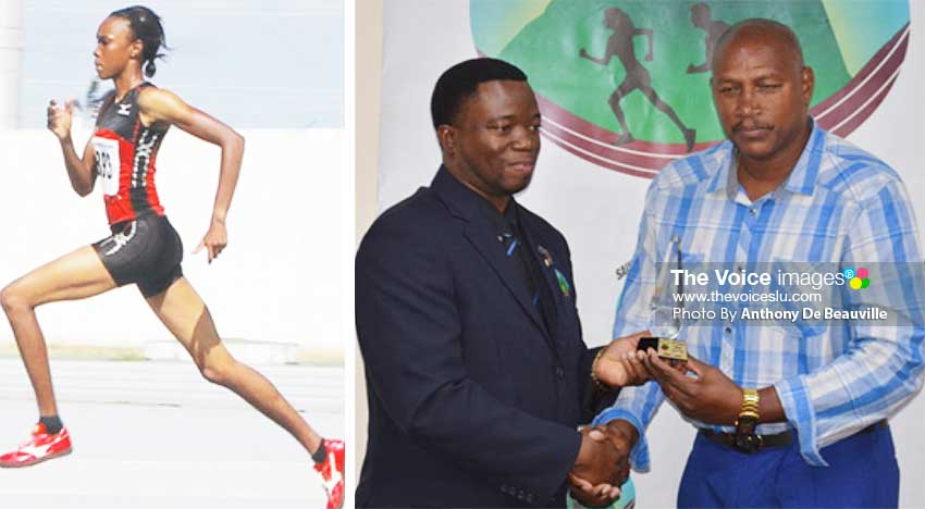 Image: (L-R) World-ranked high jumper Levern Spencer in action; SLAA President Cornelius Breen presenting Levern Spencer's local manager Gregory Dickson with the 2019 Senior (female) Athlete of the Year award. (PHOTO: Anthony De Beauville)