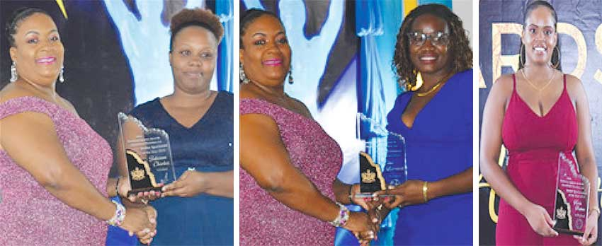 Image: (L-R) DPS Liota Charlemange - Mason presenting the Senior Cricketer for the Year award to Tia Charles, Johnson Charles' wife; Shekera Barclette receiving the Senior Footballer for the Year award from DPS Liota Charlemange on behalf of her Brother Vino Barclette; Senior female Volleyball Player for the Year Kerin Neptune all in smiles. (PHOTO: Anthony De Beauville)