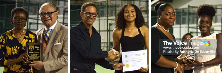 Image: (L-R) Mary Francis receiving the Posthumous award from SLTA President Stephen McNamara  on behalf of her deceased sister/ tennis player, Una Francis; Junior players, JorjaMederick and Alysa Elliot receiving awards. (PHOTO: Anthony De Beauville/MW)