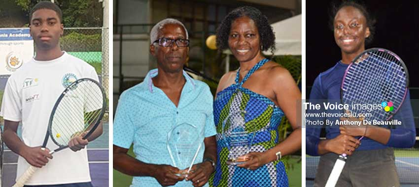 Image: (L-R) Maxx William, Senior Male Tennis Player of the Year; parents Donald and Magdalene Williams, received awards on behalf of Maxx and Meggan; Meggan William, Senior Female Tennis Player of the Year. (PHOTO: Anthony De Beauville)