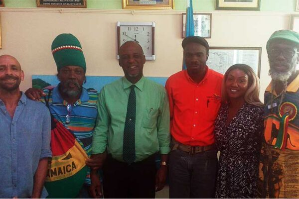 Image of Mayor of Castries with representatives of the Cannabis Movement.
