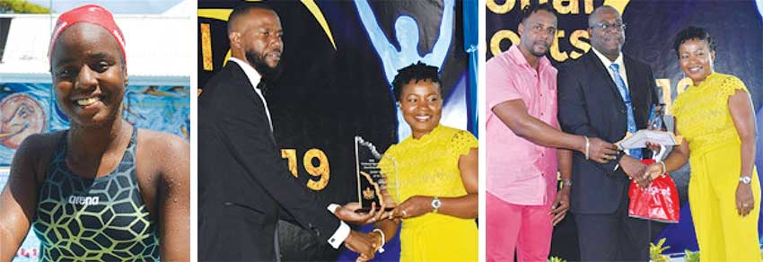 Image: (L-R) Mikaili Charlemangne; PS Sports Benson Emile presenting Mikaili's mother Constance Rene with the Junior Swimmer of the Year Award; Gabriel Charlemange and Constance Rene (Mikaili's parents) receiving the Junior Sportswoman for the Year award from Sports Minister Edmund Estaphane. (PHOTO: Anthony De Beauville)