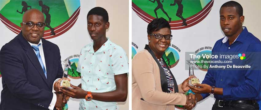 Image: (L-R) NLA representative John Estaphane presenting the Junior (male) Athlete of the Year award to Jaheim Ferdinand; Chief Education Officer Fiona Mayer presenting a family member of Julien Alfred with the Junior (female) Athlete of the Year award. (PHOTO: Anthony De Beauville)