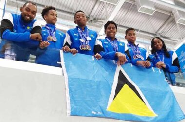 Image: National Swim Team give Saint Lucia 2020 Independence Day gift.