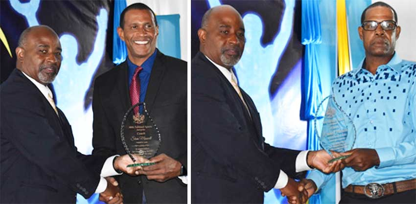 Image: (L-R) Director of Sports – Patrick Mathurin presenting Brian Charles (Swimming) and Conrod Fredrik (Boxing) with coaches awards. (PHOTO: Anthony De Beauville)