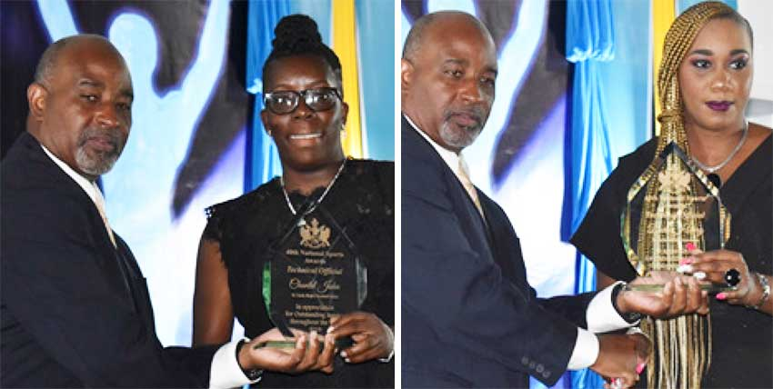 Image: (L-R) Director of Sports Patrick Mathurin presenting Chantal John (Rugby) and Dora Henry (Athletics) with their Technical Official Award. (PHOTO: Anthony De Beauville)