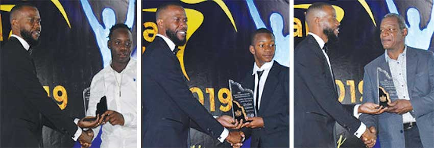 Image: (L-R) PS Sports presenting Qiana Joseph with the female Cricketer for the Year award; D' Andre Calderon receiving the Junior Table Tennis Player for the Year award and Buffalo Odlum receiving the Junior Swimmer for the Year award on behalf of Jayhan Odlum Smith. (PHOTO: Anthony De Beauville)