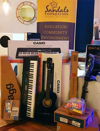 image of some of the musical instruments donated by the Sandals Foundation to the Choiseul Music Centre.