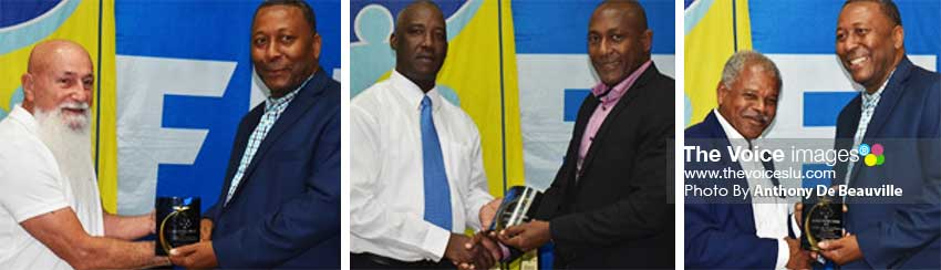 Image: (L-R) South Shoe Store  Owner receiving Corporate Award from SLFA President Lyndon Cooper; SLFA Vice President Stephen Regis presenting Chairman NLA Caron Serieux with Corporate Award; Freelance Journalist Marius Modeste receiving Media Award from SLFA President Lyndon Cooper. (PHOTO: Anthony De Beauville)