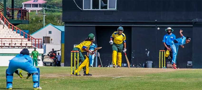 Image: Saint Lucia's Yasmine St. Ange bowls a delivery, to date she has taken 9 wickets for 54 runs from two matches. PHOTO: SA)