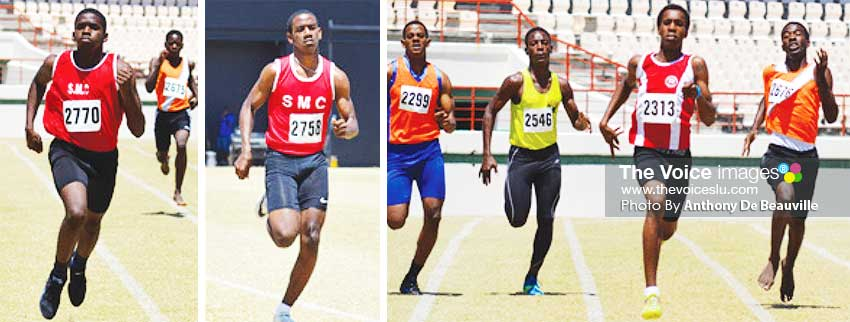 Image: (L-R) Boys 200 metres in pursuit of a semifinal spot. (PHOTO: Anthony De Beauville)