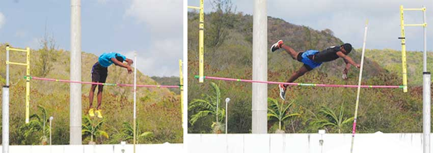 Image: (L-R) CARIFTA 2020 qualifiers in the Pole Vault event  Jeremiah Felix (Mon Repos) and Jarmol Marcel  (Nightriders). (PHOTO: AB)
