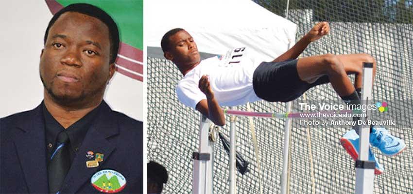 Image: (L-R) SLAA President Cornelius Breen; High jumper Sadiq Serville . (PHOTO: Anthony De Beauville)