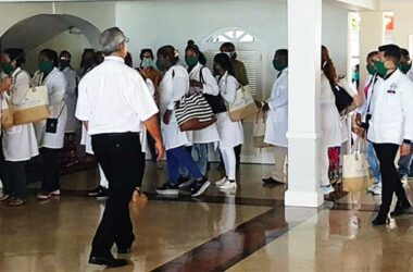 Image of Cuban doctors arriving at Sandals Regency La Toc Golf Resort & Spa.