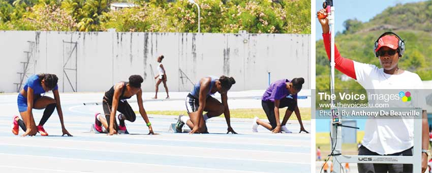 Image: (L-R) Girls 100 meters athletes on the 'Marks' female starter Drmia Brown in command. (PHOTO: Anthony De Beauville)