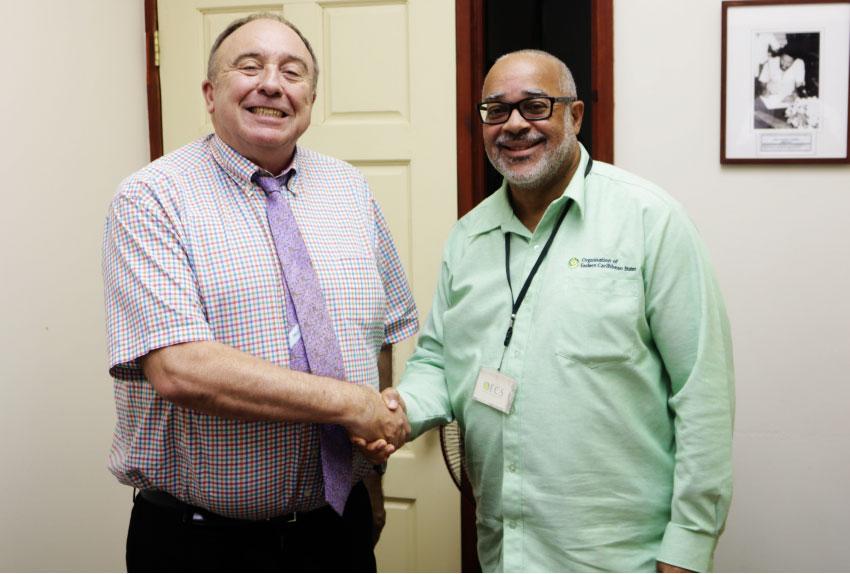 Image of Secretary General of Virtual Educa José María Antón and Director General of the OECS Dr Didacus Jules.