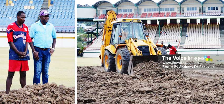 Image: (L-R) Ken Crafton (right) supervising works at DSCG, turf being cleared on the square. (PHOTO: Anthony De Beauville)