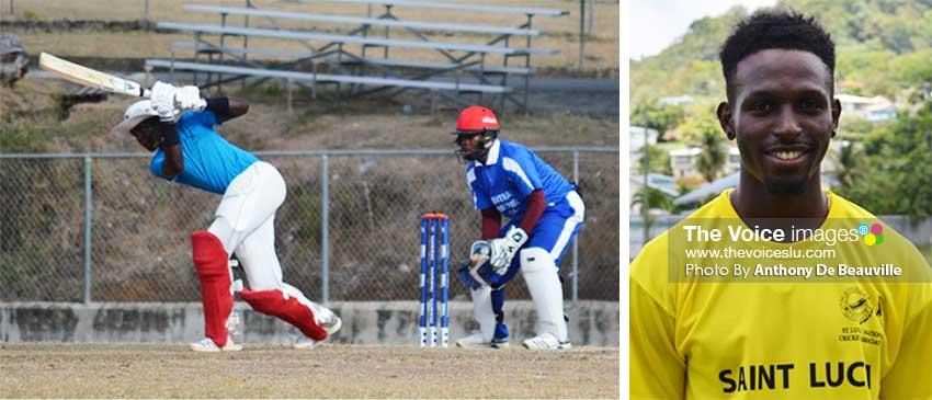 Image: (L-R) Opening batsman Kimani Melius plays a shot down the ground; Slow leftarm orthodox spinner, Larry Edward. (Photo: Anthony De Beauville)
