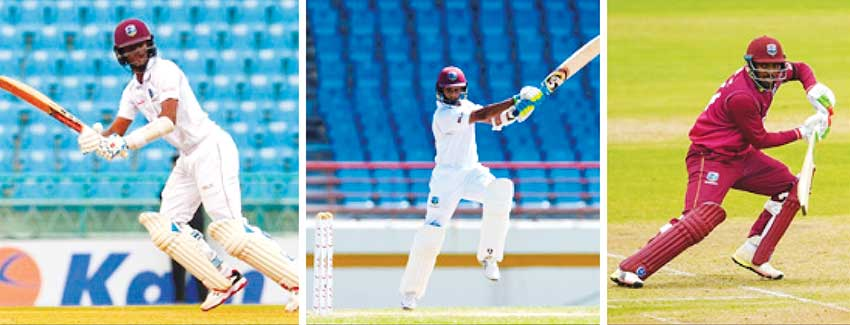 Image: (L-R) Kraigg Brathwaite, Shane Dowrich (Barbados), Sunil Ambris (Windward Islands). PHOTOS: AFP/ Getty Images)