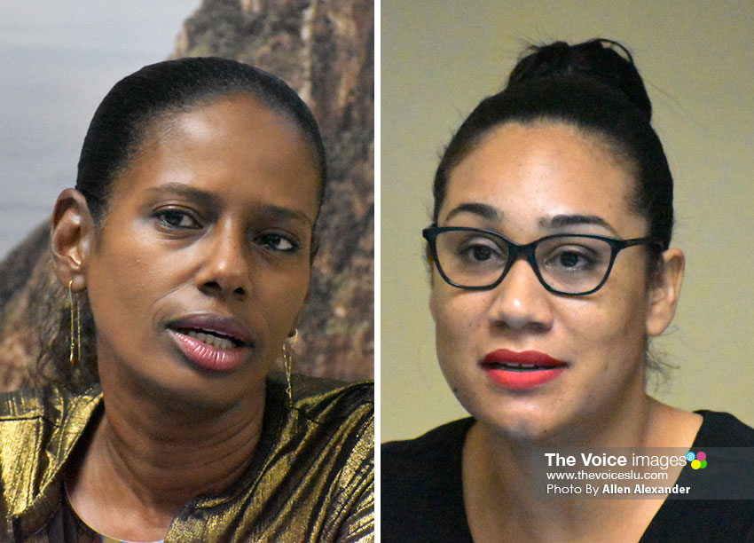 Image of Lorraine Sidonie, CEO of Events Company of Saint Lucia (ECSL) & Geraine Georges, acting Public Relations Manager for Saint Lucia Tourism Association (SLTA)
