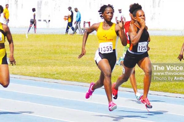 Image: (L-R) Women 100 metres, No. 1401- Narlia Albert (Pacesetters), No. 1355 - Kayla Thorpe (Morne Stars), No. 1252 - Jola Felix (Elite) and No. 1372 - Nikole Farrel (Nightriders). (PHOTO: Anthony De Beauville)