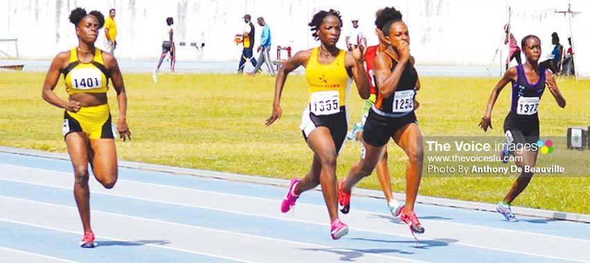 Image: (L-R) Women 100 metres, No. 1401- Narlia Albert (Pacesetters), No. 1355 - Kayla Thorpe (Morne Stars), No. 1252 - Jola Felix (Elite) and No. 1372 - Nikole Farrel (Nightriders). (PHOTO: Anthony De Beauville)