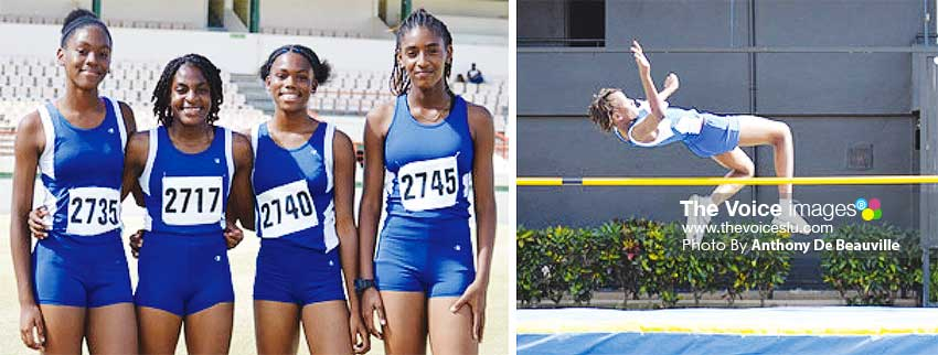 Image: (L-R) ) SJC U16 4x100 metres relay team; St.Clair Therese win the girls Under 16 High Jump. (PHOTO: Anthony De Beauville)