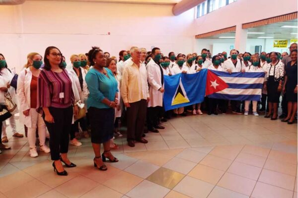 Image: St Lucia-Cuba Humanistic Solidarity Association President Marlene Alexander welcomed the medical team on arrival in Vieux Fort.
