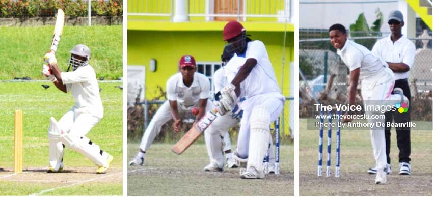 Image: (L-R) Tonius Simon (146 versus Babonneau), Dane Edward (90 versus Central Castries and Kegan Arnold picked up 2 wickets versus Gros Islet.  (Photo: Anthony De Beauville)