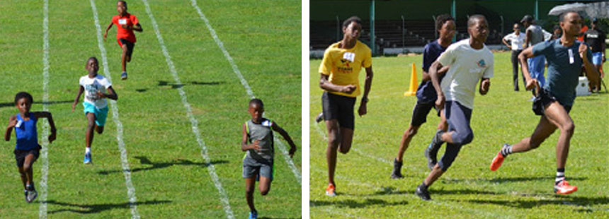 Image: (L) Some of the action in the boys 60 metres Heat 2; (R) Boys 600 metres Heat 1. (PHOTO: Anthony De Beauville)