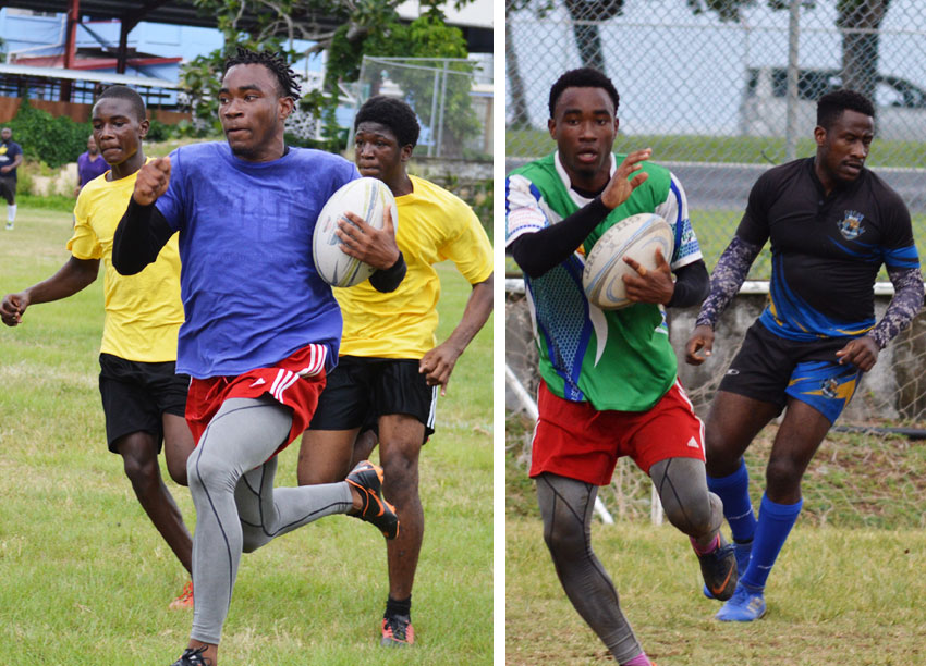 Image: (L-R) Jeano Henry (Renegades) turns up the heat against Monchy Sharks as he strides away for a try; Jeano too much for this Rogues player . (PHOTO: Anthony De Beauville)