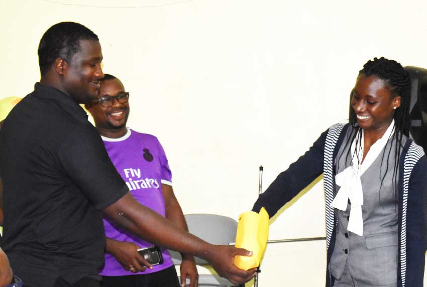 Image: Secretary for Pavee FC Mary Robert dipping during the team grouping process. (PHOTO: Anthony De Beauville)