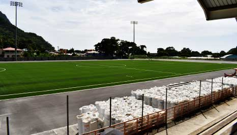 Image: The newly laid playing surface at the Soufriere Mini Stadium (SMS). (PHOTO: Anthony DE Beauville)