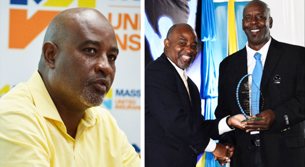 Image: (L-R) Patrick Mathurin during a press conference for Massy Insurance Under 19 cricket school tournament 2020 ; Presenting award to Terry Verdant at Sports Awards 2020. (PHOTO: Anthony De Beauville)