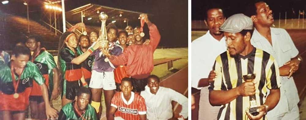 Image: VSADC celebrates in Barbados, OECS Mackeson champions; Albert 'Vasso' St. Croix, coach of the tournament. (PHOTO: PP)