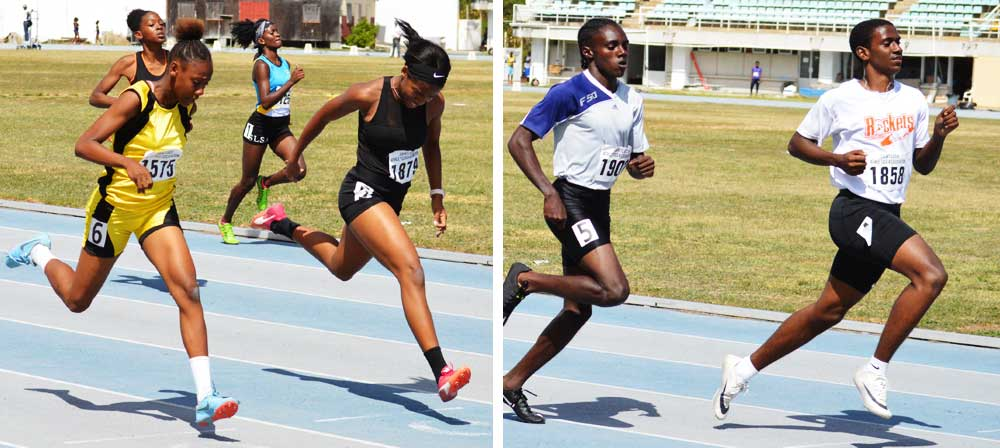 Image: Flashback March 2020!! (l-r) Some of the action in the girls 200 metres l and boys 200 metres final, SLAA Junior Games. (PHOTO: (Anthony De Beauville)