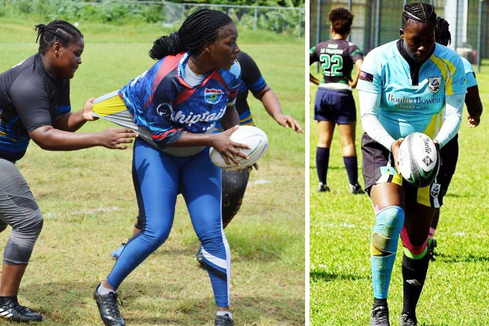Image: Chantel John with ball in hand in action against Rogues in SLRFU 7s tournament; Chantel John. (PHOTO: Anthony De Beauville/CJ)