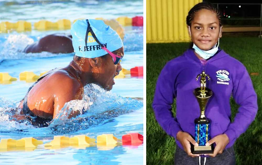 Image: (L-R) Fayth Jeffrey on her way to set one of her eight records; Fayth Jeffrey tied for 1st place with 77 points, girl's 9-10 age group. (PHOTO: DK)