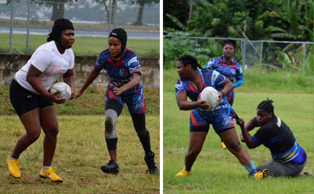 Image: (L-R) Winne – Della Rene in action against Marilyn Cherry; Winne – Della is heavily challenged by a Rouges player (Whiptail Warriors)