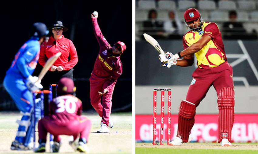 Image: Anisa Mohammed in her delivery stride and Kieron Pollard shapes to smash on the leg side.(Photo: ICC/Getty Images)