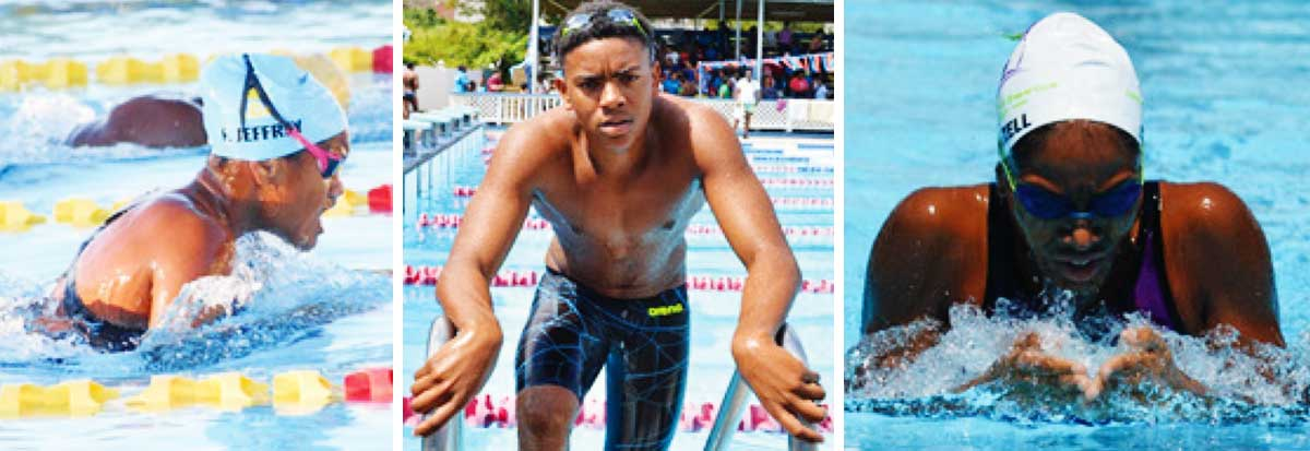 Image: Saint Lucia swimmers Fayth Jeffrey, Jayhan Odlum - Smith and Naima Hazell are just some of the competitors that will miss out for the second consecutive year unless a new date can be found. (Photo: DK/ Anthony De Beauville)