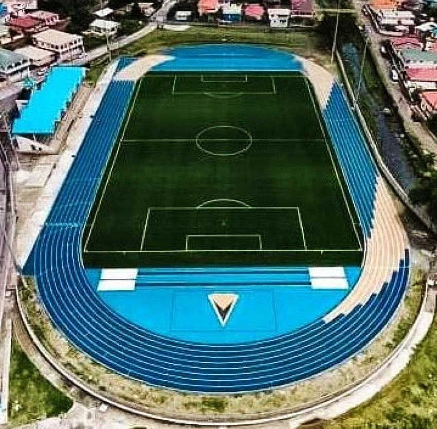 Image: A Drone photo of the Soufriere Mini Stadium (MOS)