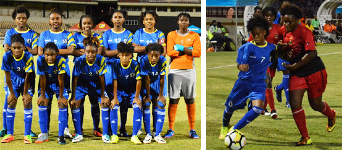 Image: (L-R) Saint Lucia national Under 17 team, Krysan St. Louis fourth from left front row); No.7 Krysan St. Louis in action against Antigua and Barbuda in CONCACAF Under 17 qualifier  at the Daren Sammy Cricket Ground. (PHOTO: Anthony De Beauville)