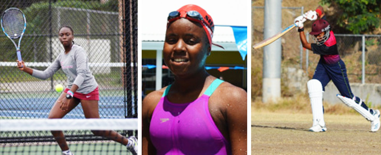 Image; (L-R) Saint Lucia Elite athletes, Meggan Williams (Tennis); Mikaili Charlemagne (Swimming) and Zaida James (Cricket). (PHOTO: Anthony De Beauville)