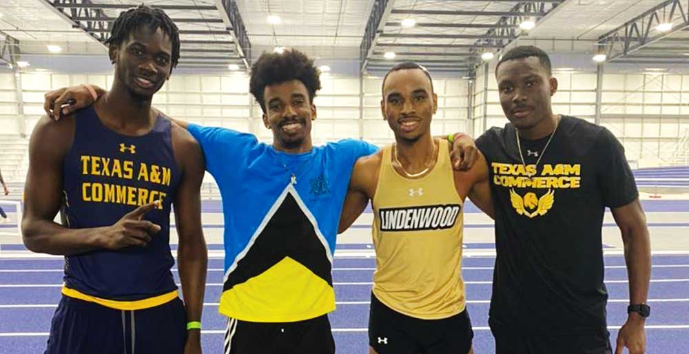 Image: (L-R) Saint Lucia athletes in the USA, Micky Ferdinand; Kervin Norville; Armani Modeste and Delan Edwin. (Photo: MA)