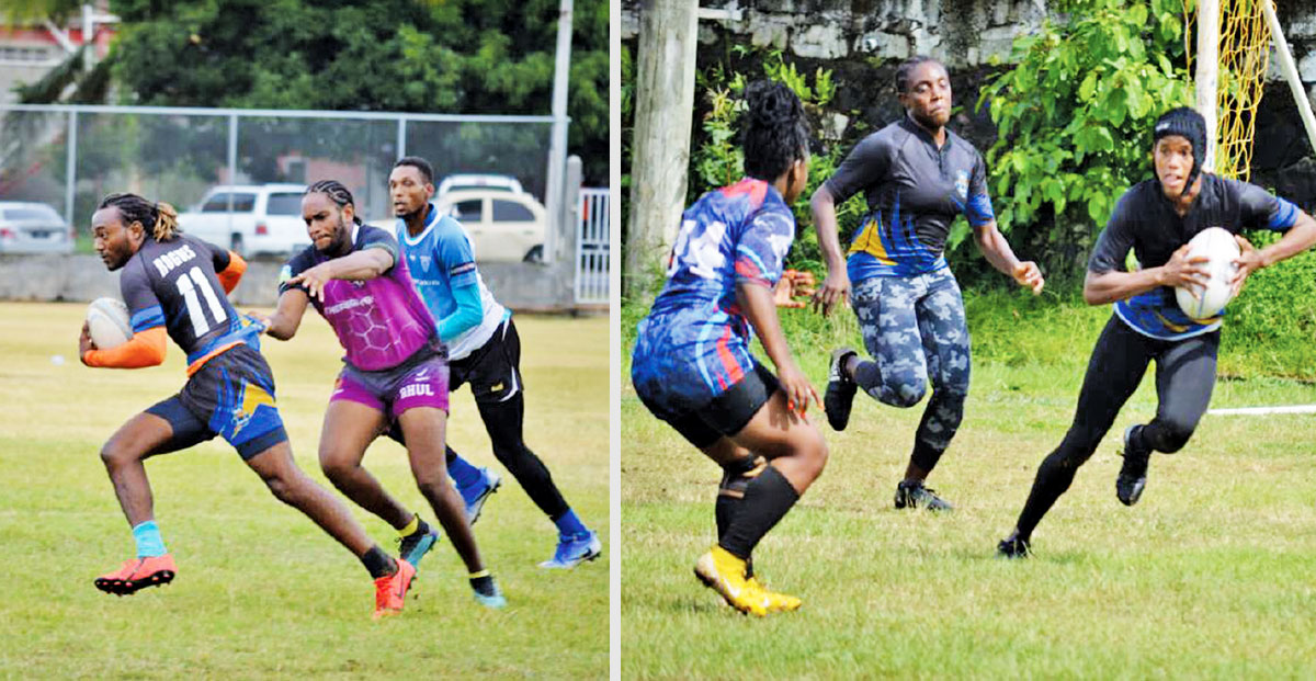 Image: Flashback 2020!! (L-R) Rugby action in the men and women's 7s tournament. (Photo: Anthony De Beauville)