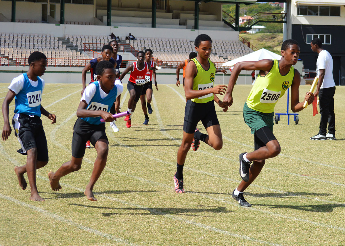 Image: Flashback 2020!! Inter Secondary Schools northern zone qualifiers boys' 100 metres relay at the DSCG. (PHOTO: Anthony De Beauville)